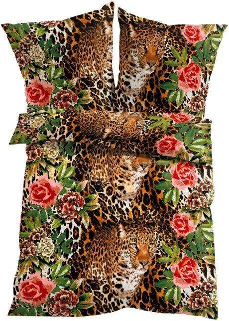 Bettwäsche Löwen Rosen Blumen Garnitur Mit Reißverschluss 135 X 200