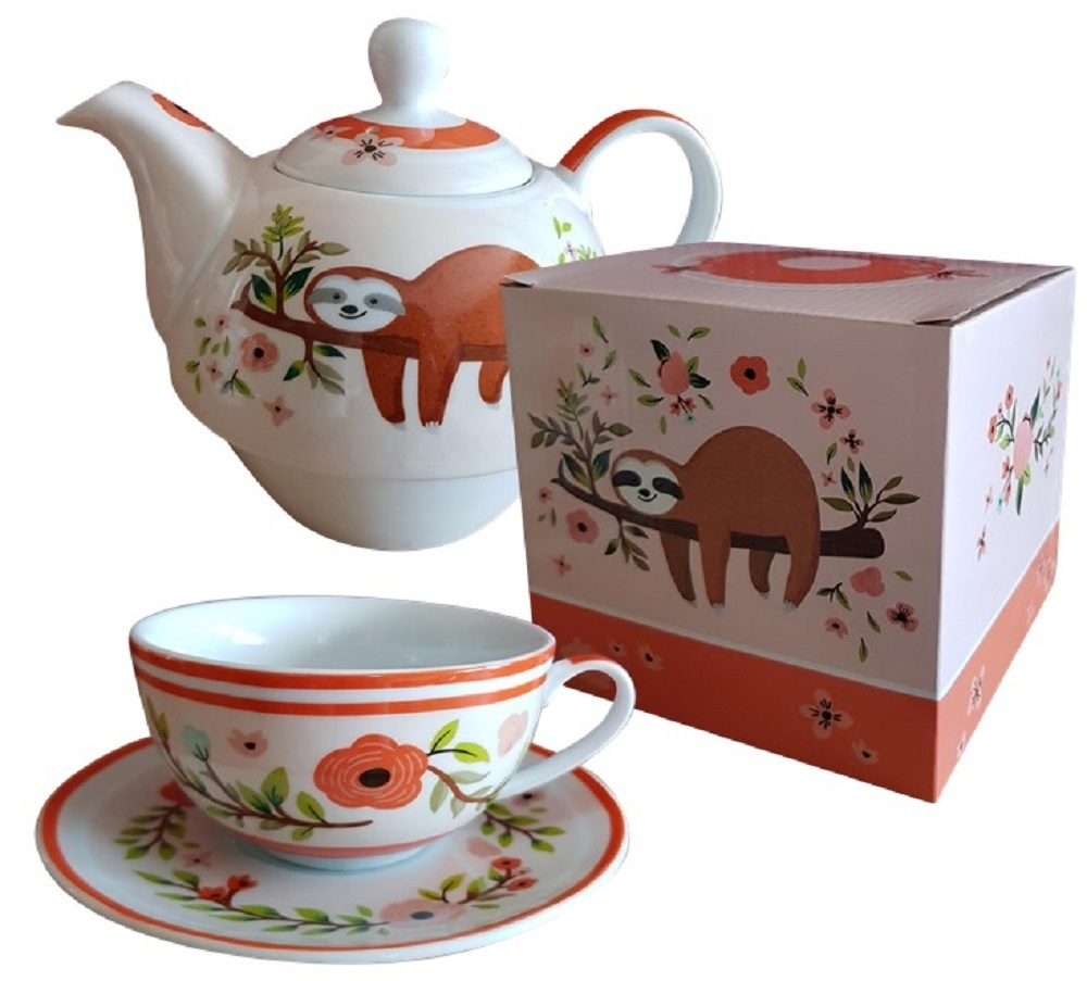 tea for one porzellan tee set mit motiv faultier in geschenkbox trendstern. Black Bedroom Furniture Sets. Home Design Ideas