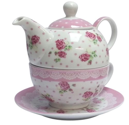 Tea for One Rose Teekanne+Tasse+Geschenkkarton Set Retro rosa oder hellblau Trendstern